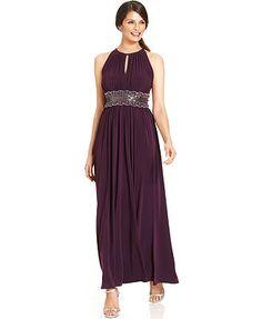 R&M Richards Sleeveless Beaded Evening Gown