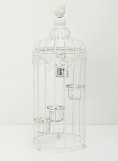 White vintage large birdcage tealight holder