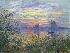 I adore art (esp. paintings) and one of my favourite paintings is Claude Monet. This is a paining I really love :)  Sunset on the Siene - Claude Monet