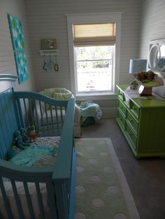Love this Nursery Idea!  Painted crib and painted dresser in another color.  LOVE