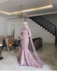 Hijab Prom Dress, Dress Brukat, Hijab Gown, Muslimah Wedding Dress, Hijab Evening Dress, Hijab Style Dress, Muslim Wedding Dresses, Dress Outfits, Dress Muslimah