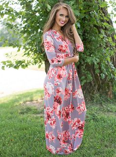V Neck 3/4 Sleeve Knot front Floral Maxi Dress | victoriaswing
