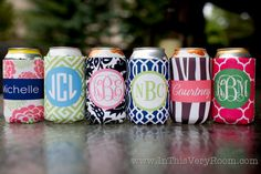 monogrammed drink koozie - choose from 6 preset designs, customize name/initials only. $10.00, via Etsy.