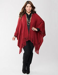 Nothing warms up your day like our ultra-soft cape with fringe trim. Perfect for layering over any ensemble, this cozy, knit cape offers homespun charm enough sophistication to go anywhere.  lanebryant.com