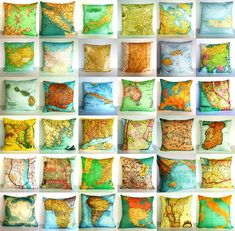 Just some of my many vintage map cushions. Map Crafts, Arts And Crafts, Art Fil, Sewing Projects, Projects To Try, Map Globe, Idee Diy, Old Maps, Diy Gifts