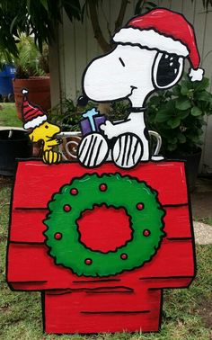 snoopy yard sign christmas yard artchristmas yard decorationssnoopy