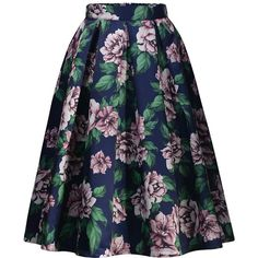 Missmay Women's Vintage Pleated Floral Print Flared Casual Swing... ($19) ❤ liked on Polyvore featuring skirts, pleated skirt, blue skirt, blue pleated skirt, vintage pleated skirt and floral skirt