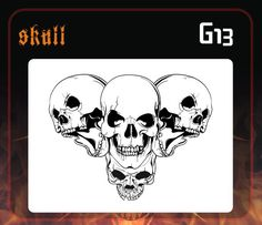 CAS Professional Airbrush Stencil - Skull Group 13 - 'Multi-Angle Grin 3'