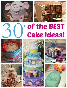 Over 30 of the most Awesome Cake Ideas! Everything from Kids birthday cakes to wedding cakes, incredible decorated cakes, baby shower cakes & more!