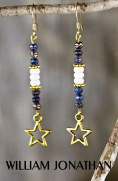 Gold star dangling earrings Czech beaded earrings White turquoise earrings Beaded earrings Statement earrings Purple iridescent earrings by William Jonathan