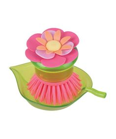 Take a look at this Pink Flower Garden Scrubber Brush & Holder by Sparkling Goddess by Boston Warehouse on #zulily today!