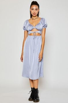 Satin Cut Out Midi Dress 100% Polyester Puffy Cap Sleeve V Neck Elastic Waist In Stock Boutique Clothing, Cap Sleeves, Elastic Waist, Lavender, Backless, Two Piece Skirt Set, Satin, V Neck, Skirts