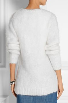 White cable-knit mohair-blend Button fastenings through front mohair, polyamide, wool Dry clean Cable Knit Cardigan, Wrap Sweater, Cashmere Cardigan, Michael Kors Sandals, Pamela Love, Michael Kors Collection, Pullover, Sweaters, Wraps