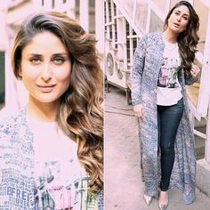 Bebo can even make casual look chic.Kareena kapoor in a DevrNil cape and Manolo Blahnik pumps