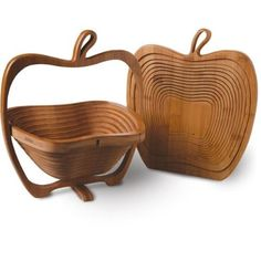 Collapsible Fruit Basket measures 10 by 12 by 8-inch when opened Spiral-cut fruit basket designed with unique folding feature Folds flat to be used as a handy trivet on table or countertop Ideal to display fruit, breads, potpourri and more Made of bamboo sourced from sustainable forests