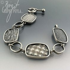 Multi Textured Link Bracelet - Jewelry made by Birgit Kupke-Peyla