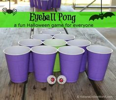 My mom holds a fabulous Halloween party each year. Lots of fun and games. This year she added a new game, eyeball pong which was a big hit! Think along the lines of beer pong, but we didn't m… Halloween Tags, Halloween Drinking Games, Halloween Carnival Games, Outdoor Halloween Parties, Teen Halloween Party, Halloween Games Adults, Halloween School Treats, Halloween Eyeballs, Halloween Festival