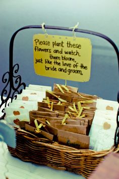 Basket full of promise. See more seed packet wedding favors and party ideas at www.one-stop-party-ideas.com
