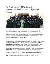 Dr P Mohamed Ali's vision to strengthen the Education System in Oman