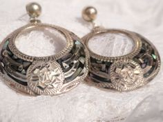 Vintage GMIO Mexico Mayan God Earrings Black Silver Inlaid Abalone Donut 925