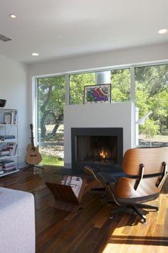 Modern Fireplace Design Ideas for Living Room Floating Fireplace, Metal Fireplace, Fireplace Surrounds, Fireplace Design, White Fireplace, Fireplace Windows, Modern Fireplaces, Ceiling Windows, Fireplace Ideas