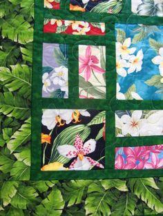 Handmade Scrappy Hawaiian Floral Patchwork Throw Quilt