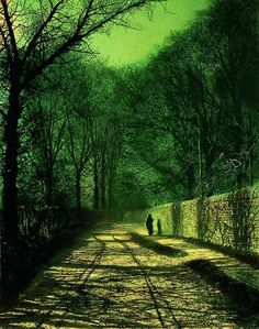 Tree Shadows on the Park Wall, Roundhay, Leeds  by John Atkinson Grimshaw