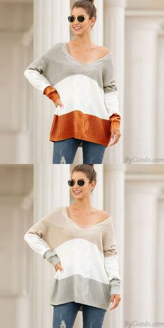 Fashion Knitting V Collar Strapless Shoulder Loose Twist Long Sleeve Stripe Cardigan Women Sweater Fashion Knitting V Collar Strapless Shoulder Loose Twist Long Sleeve Stripe Cardigan Women Sweater Mohair Sweater, Loose Sweater, Long Sleeve Sweater, Sweater Cardigan, Striped Cardigan, Striped Knit, Girls Sweaters, Cardigans For Women, Women's Sweaters