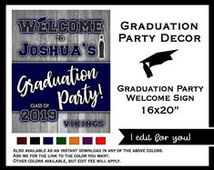 Printable Invitations & Matching Party Decor by Printable Invitations, Printables, College Graduation Parties, Graduation Party Invitations, Etsy Seller, Handmade Gifts, Sign, Decor, Kid Craft Gifts