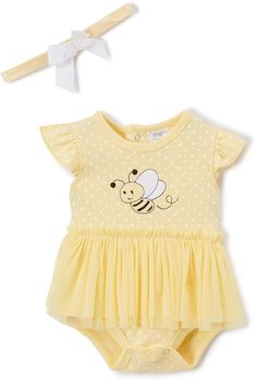 Baby Essentials Yellow Bee Skirt Bodysuit - Infant #babygirl, #romper, #zulily, #promotion