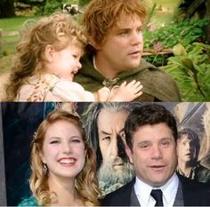 Sean Astin with his daughter in ROTK and at The Hobbit premiere