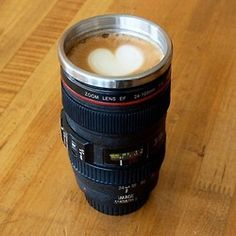 Camera Lens Stainless Steel Coffee Mug. I don't like the heart but the camera lens mug is pretty sweet! Coffee Mug Sets, Mugs Set, Coffee Cups, Coffee Coffee, Drink Coffee, Coffee Shot, Coffee Today, Funny Coffee, Coffee Time