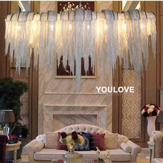 1290.10$  Watch now - http://aliwgj.worldwells.pw/go.php?t=32395845485 - European Tassel Chandeliers Lights Fixture Modern Aluminium Strings Droplight Home Indoor Foyer Dining Room Restaurant Hang Lamp