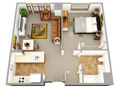 3D one bedroom small house floor plans for single man or woman are without a doubt your best resource to start redecorating your home. If you are going to build a better home, a small one is..