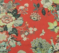 Robert Allen's Elizas Garden - salem red  {practically identical to Waverly's Portobellow Vase - Ladybug}