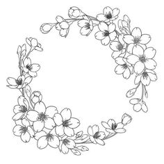 Floral Embroidery Patterns, Embroidery Art, Flower Patterns, Embroidery Stitches, Embroidery Designs, Colouring Pages, Coloring Books, Wreath Drawing, Flower Sketches