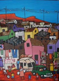 'Cape Township' is an original Mixed Media on Wood artwork by Frank Ross. Sun Drawing, African Paintings, South African Artists, Building Art, Ceramic Painting, Great Pictures, Great Artists, Art Lessons, Home Art