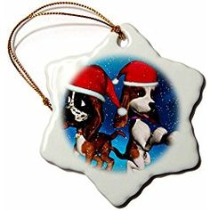 Christmas Basset Hound Puppies Playing in Snow - Snowflake Christmas Ornament, Porcelain, 3-Inch