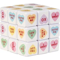 Sweet Talk Cube Puzzle: Rubik's Cube meets conversation hearts. Fun for coffee table for Valentine's Day! Cheap Valentines Day Gifts, My Funny Valentine, Happy Valentines Day, Valentine Ideas, Love Surprise, Heart Day, Happy Heart, Paper Gifts, Cube Puzzle