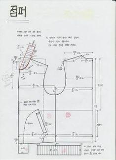 점퍼패턴 : 네이버 블로그 T Shirt Sewing Pattern, Easy Sewing Patterns, Coat Patterns, Jacket Pattern, Top Pattern, Clothing Patterns, Pattern Design, Patterned Bomber Jacket, Crochet Baby Jacket
