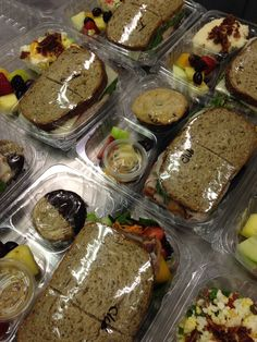 $9.50 boxed lunches.. Farm to market bread and deli meats/cheeses Cafeteria Food, Lunch Catering, Sandwich Bar, Healthy Snacks, Healthy Recipes, Lunch Meal Prep, Cafe Food, Food Packaging, Food Presentation