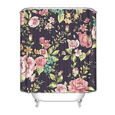 Roma Style Shower Curtain with Lush Flowers and Leaf, HGOD Designs Floral Paisley Waterproof Shower Curtain, 60 Inches X 72 Inches, Purple Floral Shower Curtains, Shower Curtain Sets, Princess Bathroom, Throne Room, Guest Bath, Floral Tie, Lush, Paisley, Leaves