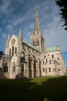 Chichester Cathedral. Smallish - well for a Cathedral -  but beautiful, with great stained glass windows, a bit of Roman mosaic, a Larkin poem.