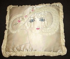 "22"" Chic Hand Made Lady in Picture Hat Satin Pillow Lace Embroidered Needlework 