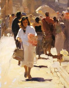 Artist: Kim English, oil on canvas {contemporary figurative #expressionist female walking in crowd woman city street landscape impressionist painting #loveart}
