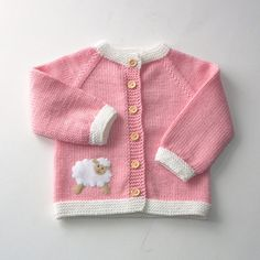 Pink baby girl sweater with lamb merino wool jacket with sheep baby girl cardigan MADE TO ORDER
