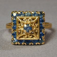 Old Estate Sapphire 18K Yellow Gold Cocktail Ring Deco Era at rubylane.com