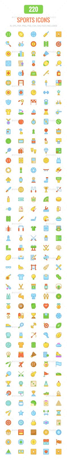 200+ Sports Colored and Line Icons