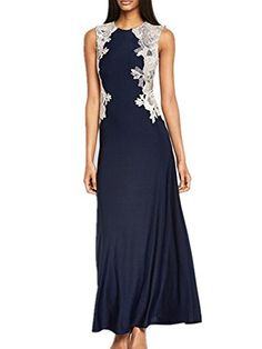 89a3624a035 Allbebe Women s Round Neck Lace Stitching Sleeveless Maxi Evening Dress L  Blue