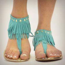 teal summer sandel women | Mint Teal Fringe Ankle Sandals Flat Gold Studded Suede Indian Summer ...